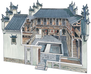李乾朗手绘中国古建筑--民居    外观上最显眼的特色   是高耸如牌楼